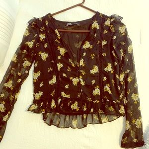 Black and yellow floral mesh Zara top (size XS)